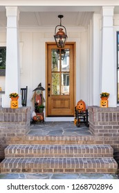 Front door with holiday decorations