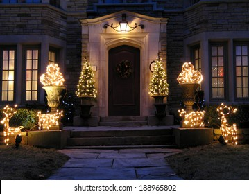 front door with holiday lights