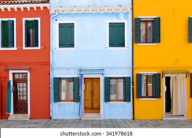 Front door to the house on venetian island Burano, Venice, Italy