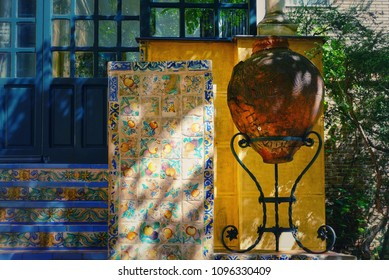 Front door of the house in traditional Spanish style