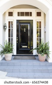Front door in an inviting front entrance