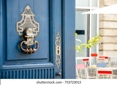 Front door and knocker of a private mansion