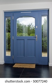Front door of a newly built modern property