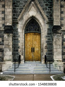 The front door of an old cathedral