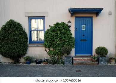 Front Door and Porch of an Exterior View of an English Town House