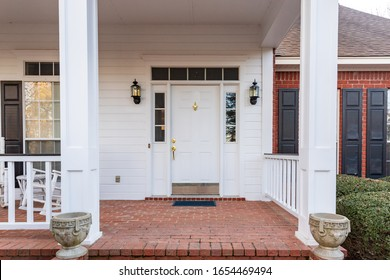Front door and porch of a residential home