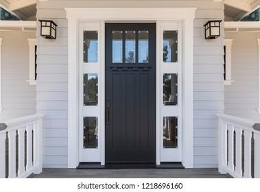 Front door, slender black door