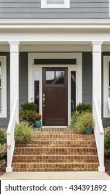 Front door of traditional style home.