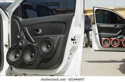 front door of the vehicle mounted with the optional audio speakers