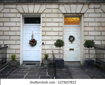 Front Doors of Neighbouring Town Houses Seen on a Street in an English City