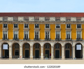 """Front elevation, facade detail at """"Praca do Comercio"""", Lisbon-Portugal"""