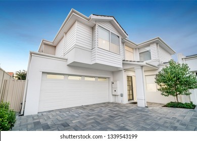 Front elevation / facade of a typical new modern double storey Australian style home.