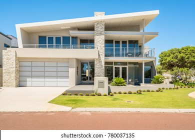 Front elevation of a large double storey home in Perth, Western Australia. Photographed: December 6th, 2017.
