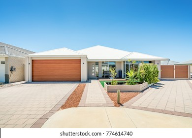 Front elevation of a modern Australian home in suburban area. Perth, Western Australia. Photographed 7th December, 2017.