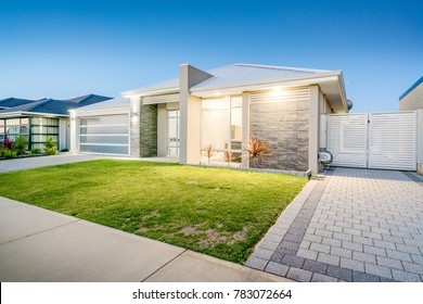 Front elevation of modern Australian home in a suburban area. Perth, Western Australia. Photographed: December 7th, 2017.
