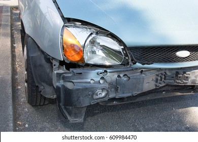 Front end of a car after a frontal impact
