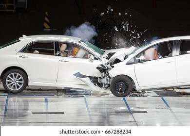 Front End Collision during a Crash Test.