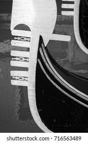 front end of gondola in venice in black and white