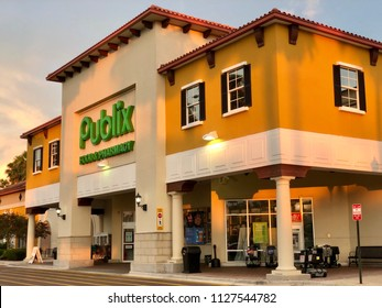 Front entrance of Publix Super Markets Saint Augustine, Florida USA. July 4, 2018.