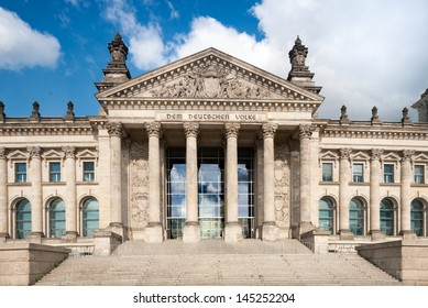 Front entrance of Reichstag Building, Berlin, Germany