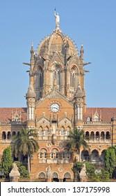 Front facade of Chhatrapati Shivaji Terminus (formerly Victoria Terminus) in Mumbai, India.