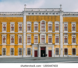 Front facade of the Royal Convent and Mafra, Portugal National Palace constructed in baroque and neoclassic style