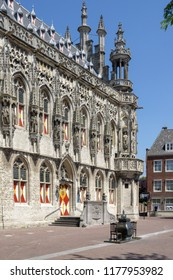 Front facade of the town hall in the city of Middelburg, Zeeland, NLD