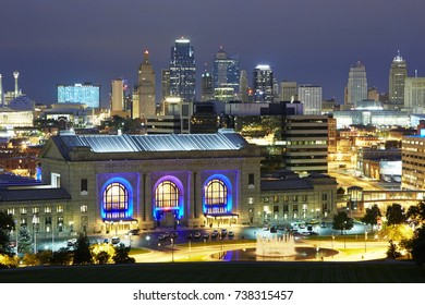 Front facade of the 'Union Station' and Kansas City MO illuminated at night. Opened in 1914 the refurbished station boasts theatres, museums and attractions