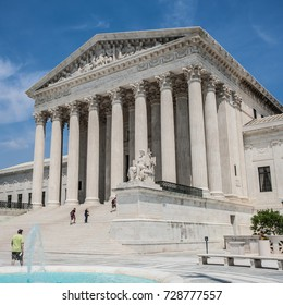 The front facade of the United States Supreme Court in Washington, DC, USA., circa May 2015
