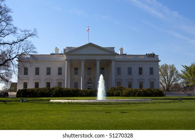 Front facade of the White House on sunny day