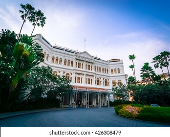 Front of the famous Raffles Hotel in Singapore City.