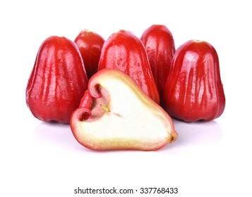 front focus Rose apples or chomphu isolated on white background