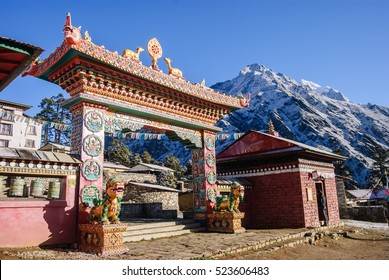 The front gate of the monastery, Tengboche guard the mythical animals before sunset.