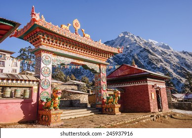 The front gate of the monastery Tengboche they guard the mythical animals - Nepal