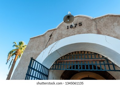 Front gates to Yuma territorial prison, Arizona state historic park, USA