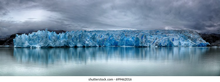 Front of Grey Glacier at Torres del Paine N.P. (Patagonia, Chile) - HDR image