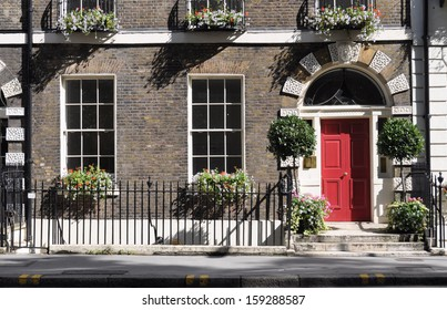 Front ground floor elevation of preserved London Georgian townhouse.