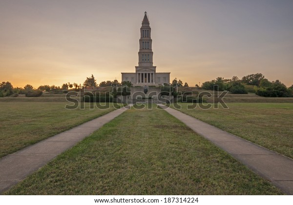 Front grounds on George Washington Masonic National Memorial during sunset in Alexandria, Virginia