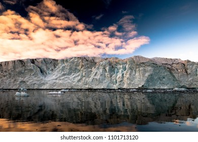 Front of the Hansbreen glacier during sunset, Spitsbergen