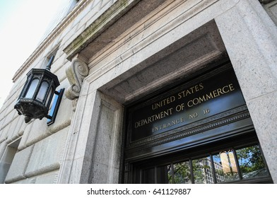 Front of the Herbert Hoover U.S. Department of Commerce building in Washington, D.C., USA, May 9, 2017