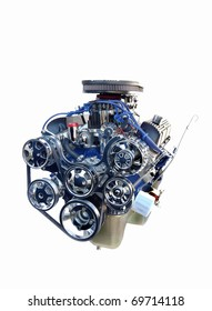 Front of High Performance Chrome V8 Engine