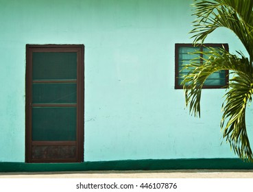 Front of house and door in Tropical Mexican Town