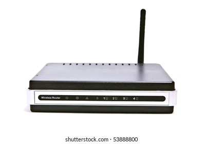Front of internet router in isolated white background