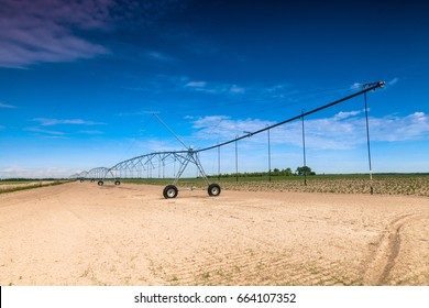 The front irrigation system in a potato field