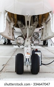 front landing gear and ladder in light business aircraft on the ground