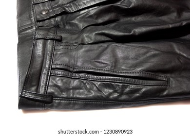 front of leather trousers on white background