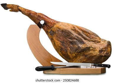 A front leg of Serrano ham mapped on a wooden stand on a white background.