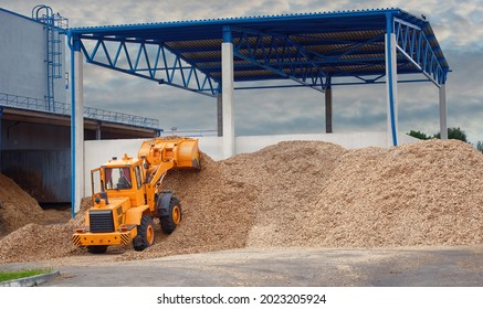 Front loader loading wood chips in pile in warehouse. Loader works at wood chips storage yard. Alternative ecological fuels. Sawdust processing, woodchip biomass heap. Pellets manufacturing