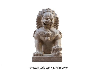 In front of, Lion statue in front of the church isolated on white background with clipping path