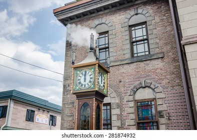 In front of the Otaru music box museum stands a steam clock, a present by the city of Vancouver.